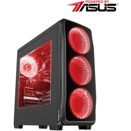 Sistem Gaming Titan v2 Powered by ASUS Intel Core i3-9100F Quad Core 3.6 GHz 8GB RAM DDR4 SSD 240GB nVidia GeForce GTX 1650 SUPER TUF Gaming O4G GDDR6 128bit Free DOS Black