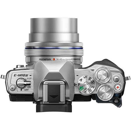 Aparat foto Mirrorless Olympus E-M10 Mark III Pancake Double Zoom 16.1 Mpx Silver Kit Pancake 14-42mm si EZ-M 40-150mm F4.0-5.6 R Silver