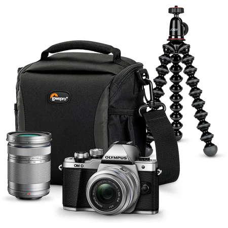 Aparat foto Mirrorless Olympus E-M10 Mark III Double Zoom Traveller Kit Silver