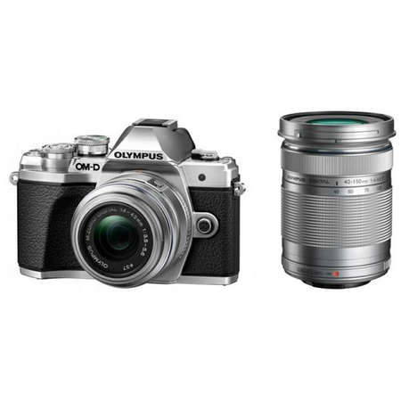 Aparat foto Mirrorless Olympus E-M10 Mark III Double Zoom Kit Silver