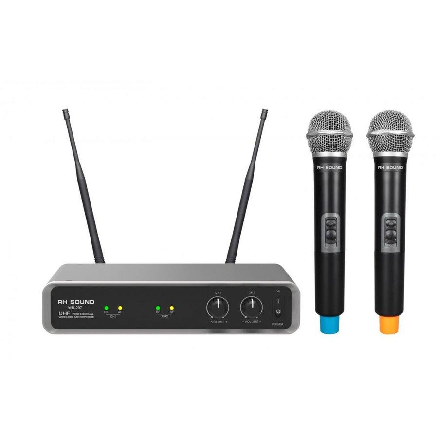 Set 2 Microfoane WR-207 Wireless Negru