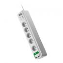 PM5U-FR 5 prize + 2x USB 1.8m Alb