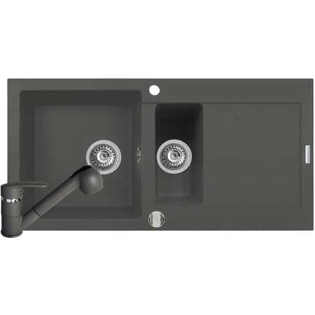 Set Chiuveta bucatarie Pyramis MIDO 100x50 1 1/2B 1D + Baterie FIDO Grey