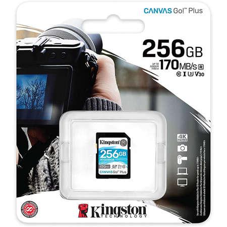 Card Kingston Canvas Go Plus SDXC 256GB Clasa 10 UHS-I U3 V30 170Mbs