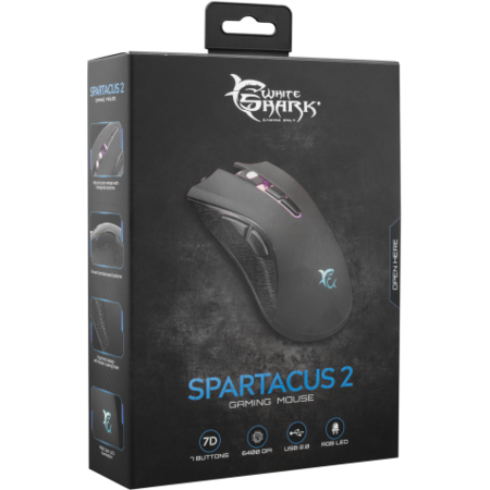 Mouse Gaming White Shark GM-5004 Spartacus 2 Negru