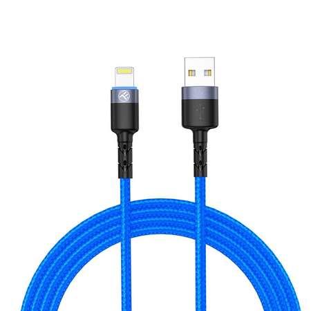 Cablu de date Tellur Lightning cu LED 3A nailon 1.2m Albastru