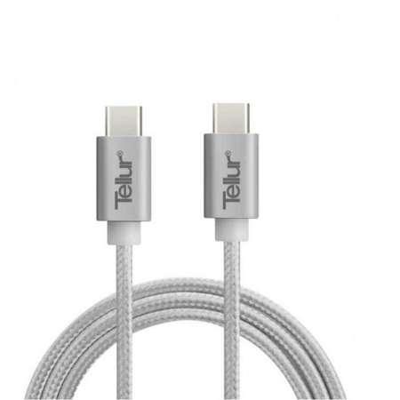 Cablu de date Tellur Type C la Type C nylon 1m Argintiu