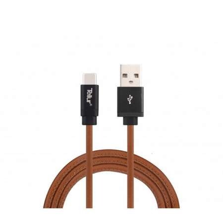 Cablu de date Tellur USB la Type-C Piele naturala 1m 3A Maro