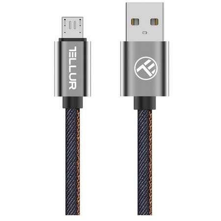 Cablu de date Tellur Denim microUSB 1m Albastru