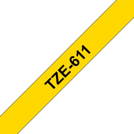 Banda laminata TZE-611  6mm 8m pentru imprimante Brother P-touch TZ / TZe Negru pe Galben