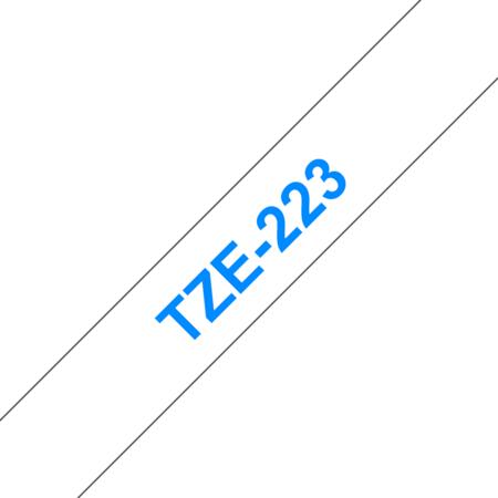 Banda laminata TZe-223 9mm 8m pentru imprimante Brother P-touch TZ / TZe Albastru pe Alb