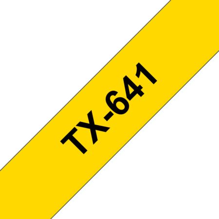 Banda laminata TX-641 18mm 15m pentru imprimante Brother P-touch Negru pe Galben