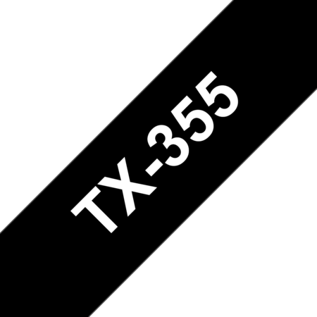 Banda laminata TX-355 24mm 15m pentru imprimante Brother P-touch Alb pe Negru