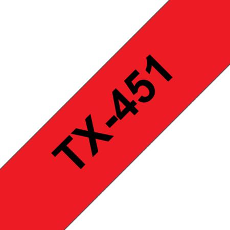 Banda laminata TX-451 24mm 15m pentru imprimante Brother P-touch Negru pe Rosu
