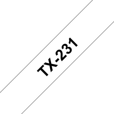 Banda laminata TX-231 12mm 15m pentru imprimante Brother P-touch Negru pe Alb