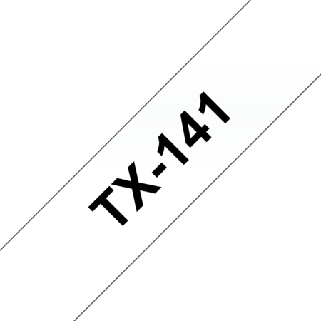 Banda laminata TX141 18mm 15m pentru imprimante Brother P-touch Negru pe Transparent