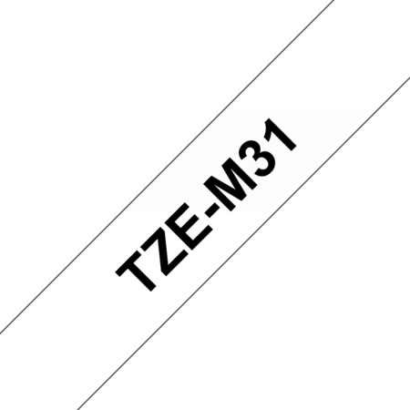 Banda laminata mata TZe-M31 12mm 8m pentru imprimante Brother P-touch Negru pe Transparent