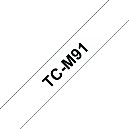 Banda laminata adeziva standard TC-M91 9mm 7.7m pentru imprimante Brother P-touch Negru pe Transparent