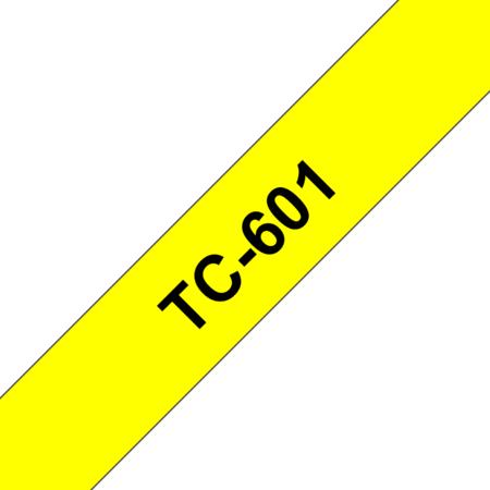 Banda laminata adeziva standard TC-601 12mm 7.7m pentru imprimante Brother P-touch Negru pe Galben