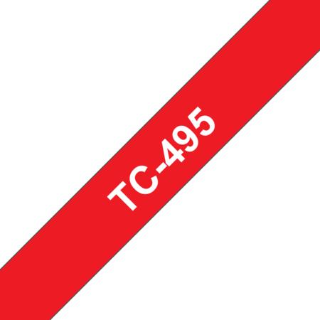 Banda laminata adeziva standard TC-495 9mm 7.7m pentru imprimante Brother P-touch Alb pe Rosu
