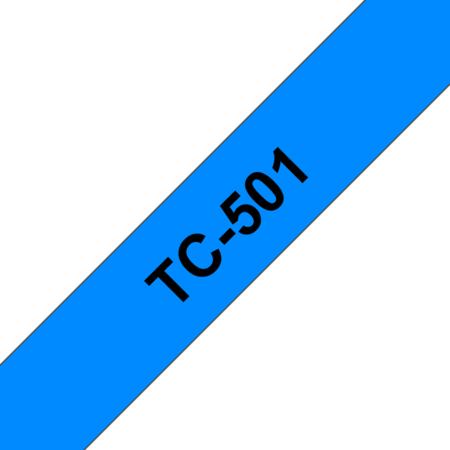 Banda laminata adeziva standard TC-501 12mm 7.7m pentru imprimante Brother P-touch Negru pe Albastru