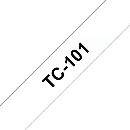 Banda laminata adeziva standard TC-101 12mm 7.7m pentru imprimante Brother P-touch Negru pe Transparent