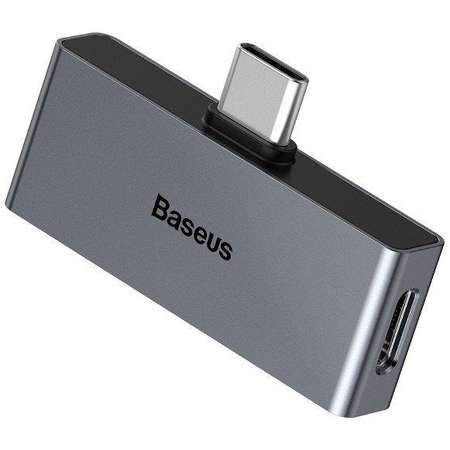 Adaptor Baseus L57 tata USB-C la mama USB-C si jack 3.5 mm Quick Charge 3.0 2A Gri