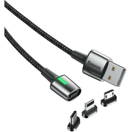Cablu pentru incarcare si transfer de date Baseus 3 in 1 Magnetic Zinc Kit LED USB Type-C/Micro-USB/Lightning 2A 2m Negru