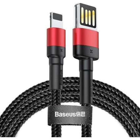 Cablu pentru incarcare si transfer de date Baseus Cafule Double-sided USB/Lightning 2.4A 1m Negru/Rosu