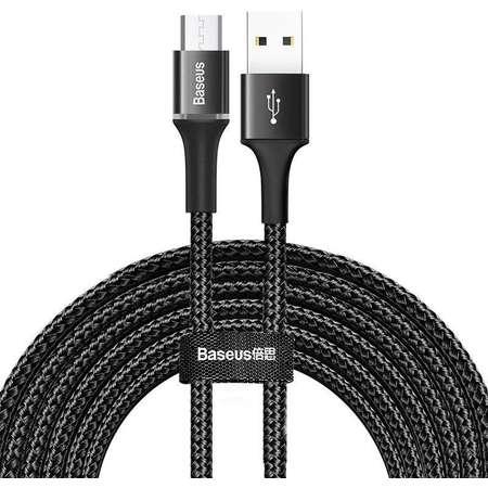 Cablu pentru incarcare si transfer de date Baseus Halo USB/Micro-USB LED 2A 3m Negru