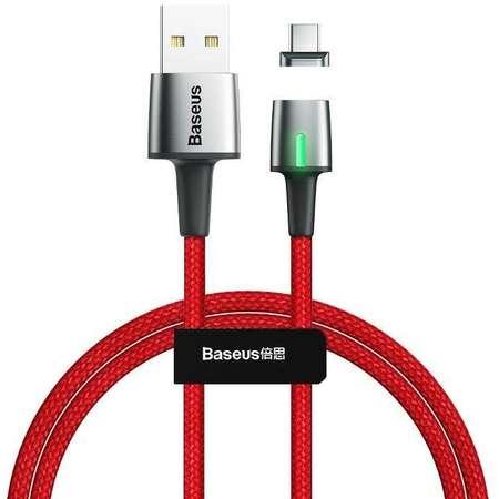 Cablu pentru incarcare si transfer de date Baseus Magnetic Zinc LED USB/Lightning 3A 1m Rosu