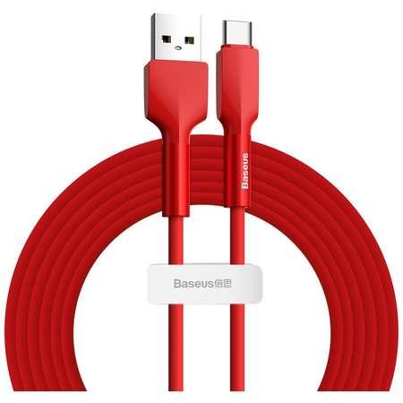Cablu pentru incarcare si transfer de date Baseus Silica Gel USB/USB Type-C 2A 2m Rosu