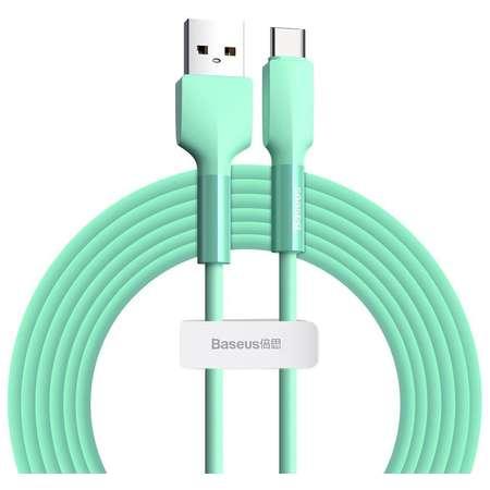 Cablu pentru incarcare si transfer de date Baseus Silica Gel USB/USB Type-C 2A 2m Verde