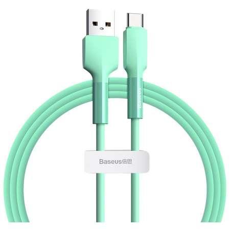 Cablu pentru incarcare si transfer de date Baseus Silica Gel USB/USB Type-C 3A 1m Verde