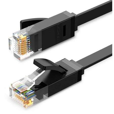 Cablu retea UGREEN NW102 Ethernet Cat. 6 mufat 2xRJ45 UTP Flat lungime 3m Negru