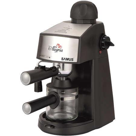 Espressor cafea Samus Alegria Putere 800W Presiune abur 3.5 bari Indicator luminos Filtru inox Negru