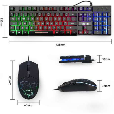 Kit Tastatura si Mouse Mafiti Gaming iluminate 7 culori USB 3200DPI