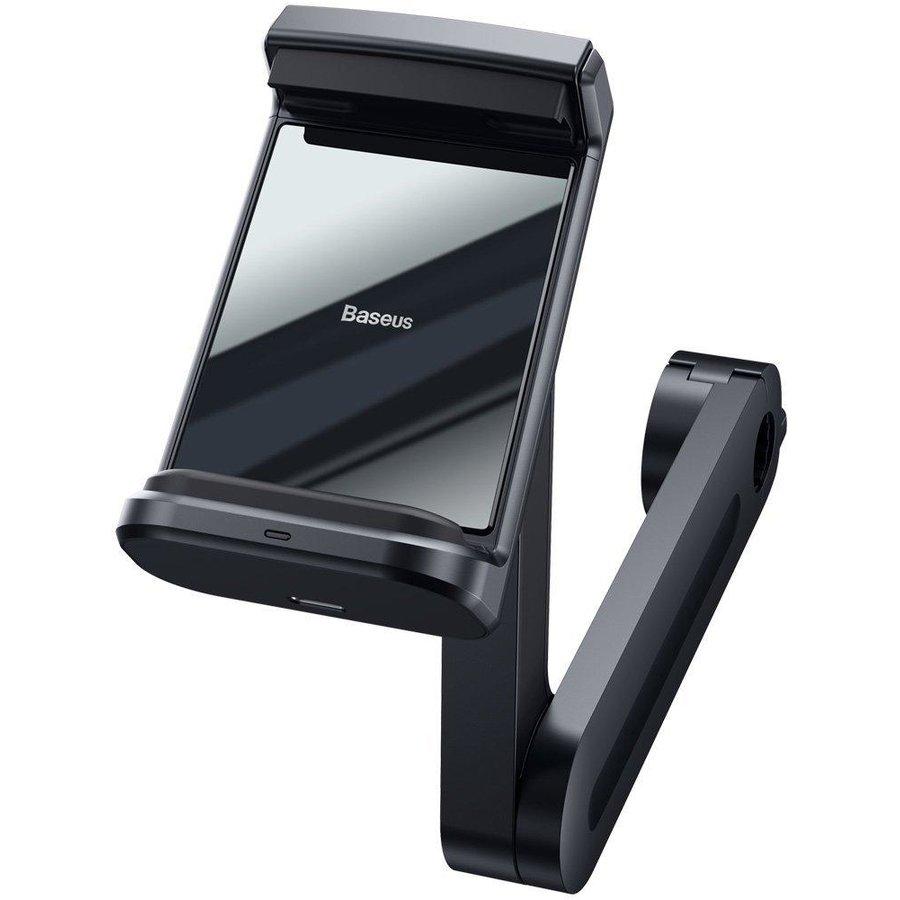 Suport de tetiera pentru tableta si telefon cu incarcare Wireless Energy 15W rotire 360 grade Cablu USB-C inclus Negru