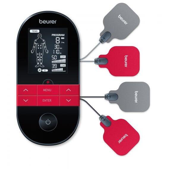 Dispozitiv digital TENS/EMS EM59 cu functie de incalzire 4 electrozi 2 canale Negru