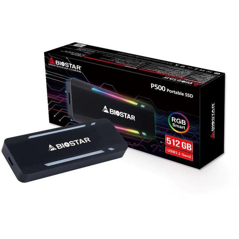 SSD portabil P500 RGB 512GB USB 3.2 tip C Black