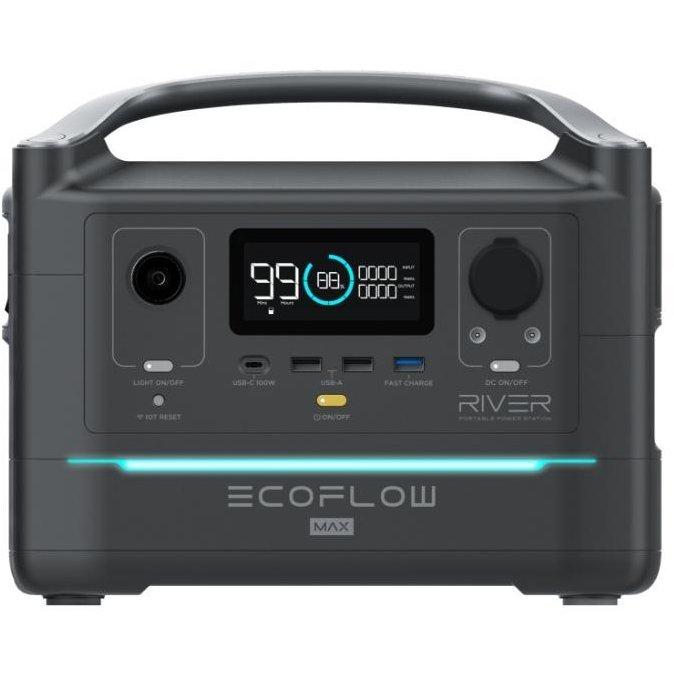 Statie de incarcare portabila River 600 MAX 48000mAh Incarcare rapida Putere pana la 1800W Incarcare 10 Dispozitive Simultan Port Panou Solar USB Negru/Gri
