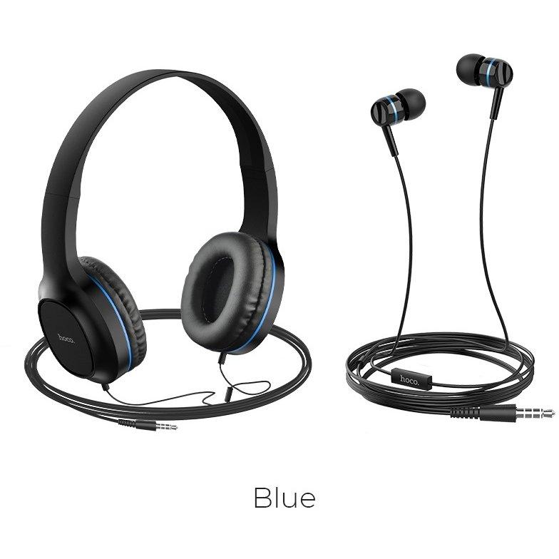 Set casti cu fir In-Ear si On-Ear W24 Enlighten Negru / Albastru