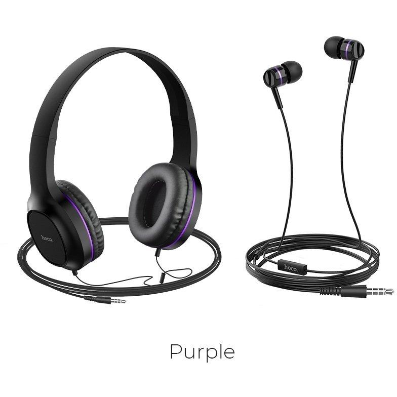 Set casti cu fir In-Ear si On-Ear W24 Enlighten Negru / Violet