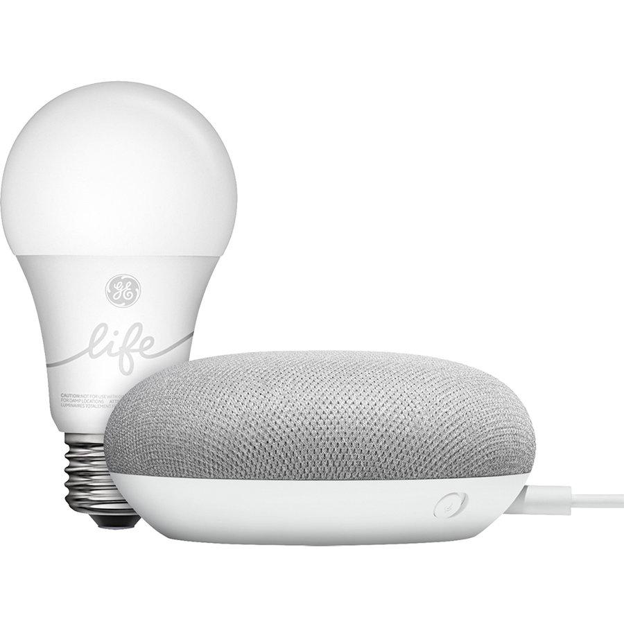 Smart Starter Kit Boxa Inteligenta Home Mini Cu Asistent Vocal Si Bec Inteligent GE C-Life, Google Asistant, Alb, Compatibil Android si iOS