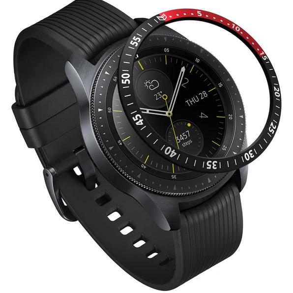 Rama ornamentala pentru Galaxy Watch 42mm / Galaxy Gear Sport Negru/Rosu