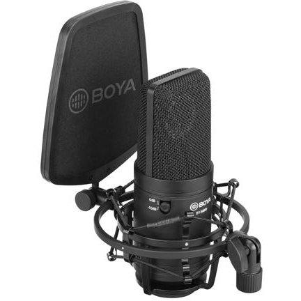 Microfon XLR Studio Condensator BY-M800  Shockmount  Pop Filter Negru